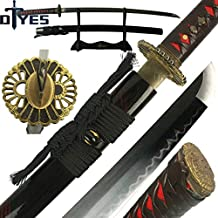DTYES Full Handmade Japanese Samurai Katana Sword (T10 Carbon Steel Clay Tempered Blade-Sun Flower Tsuba)