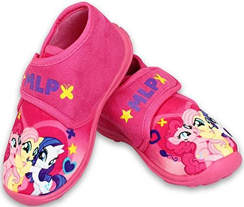 Coole-Fun-T-Shirts Mädchen Kinderschuhe Hausschuhe Klettverschluss pink, My Little Pony,mit Rutschfester Sohle Gr.28