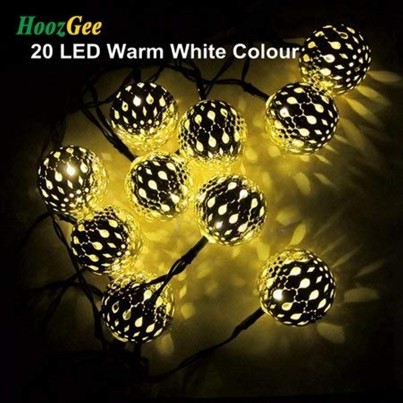 Warm White   HoozGee Solar String Lights Outdoor 20 LED Mgoldccan Sliver Metal Ball Garden Patio Decor Dream Lamp Lighting