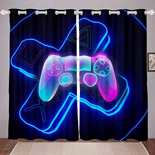 """heigudan 3D Gamepad Gaming Gamer Video Game Gamepad Game Controller Purple Curtains Window Treatments 2 Panel Set for Living Room Bedroom Decor,1 Panel 42"""" x 84"""""""