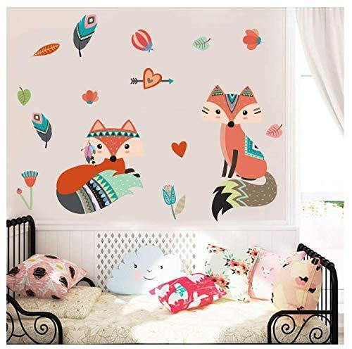 Stickers muraux animaux pour chambre d'enfants chambre Home Decor Cartoon Fox Sticker mural PVC Mural 74 * 30Cm