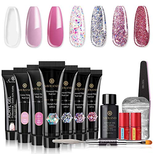 Saviland Poly Nail Gel Kit - Glitter Poly Nail Gel 7 Colors Builder Gel Nail Extension Gel Nail Enhancement Manicure Kit for Gel Polish Starter and Professional Nail Technician Pink Series
