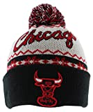 New Era Mens Chicago Bulls NBA Ugly Sweater Knit Hat White One Size, Color: White/Black/Red