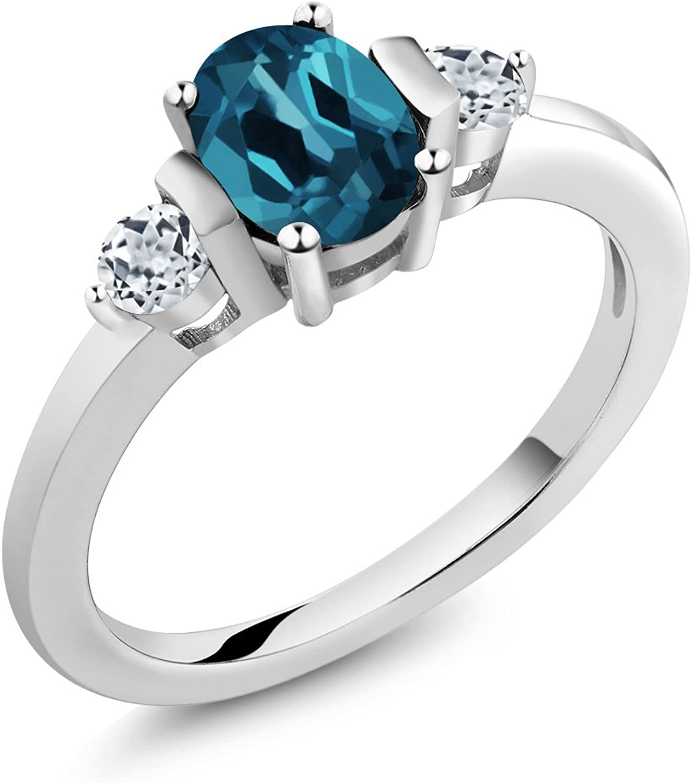 Gem Stone King 1.18 Ct Oval London bluee Topaz White Topaz 925 Sterling Silver Ring