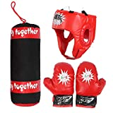 XHLLX Kinder-Boxsack, Handschuhe, zum Aufhängen, Kampftraining, Helm, Boxsack-Set