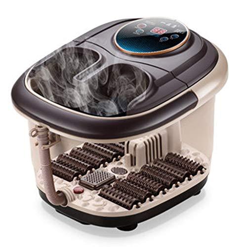 Foot tub Foot Baths Home Massage Heating Foam Basin Portable Pedicure Machine Best Gift Heating Thermostat Foot Bath Barrel (Color : Brown, Size : 403536cm)