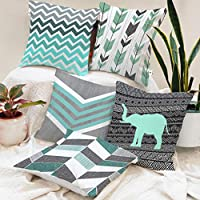 BRICK HOME Printed Canvas Cotton Cushion Cover, 24x24 Inches, Grey Teal, Set of 5