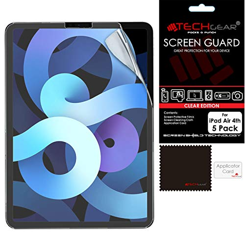 TECHGEAR 5 Pack iPad Air 4, 4th Generation Screen Protectors, Ultra CLEAR Screen Protector Guard Cover Designed For iPad Air 10.9' 2020