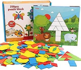 Elloapic 250 Piece Tangram Puzzle Block Children Kids Multi-Function Educational Toy Colorful Wooden Brain Training Geometry Intelligence Tangram Puzzle Jigsaw Puzzle