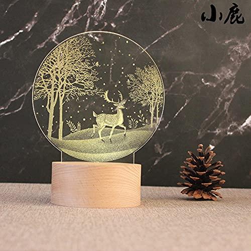 Tatapai Luz de noche 3D Luz de noche Base de madera Lámpara de mesa Decorativa Light-Plug_Deer
