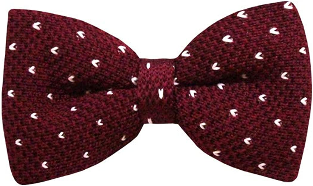 Maroon, Small Heart Dotted Men's Knit Pre-Tied Bow Tie