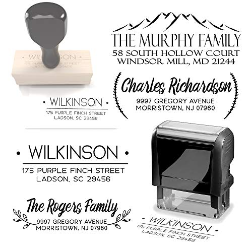 Typii - Custom Return Address Stamp Self Inking or Traditional Rubber Stamp - Name and Address Stamps - Wedding - Business - Personalized Stamp - 3 Lines - 7/8 X 2 3/8