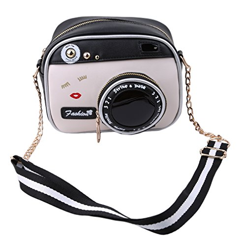 ODN Vintage Kamera Design Schultertaschen Damen Ketten Tasche Umhängetasche aus PU