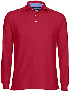 Men's Solid Polo Shirt Classic Fit - Pique Chambray Collar Comfortable Quality