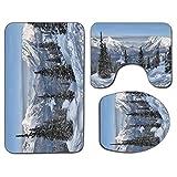 3 piezas Alfombra de baño antideslizante Juego de tapa de asiento de inodoro Decoración de granja Alfombra de baño antideslizante Suave Paisaje de invierno épico con pinos nevados en Suiza Estampado d