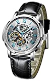 Automatic Mechanical Men's Watch Stainless Steel Case Classic Skeleton Roman Numeral dial (White)