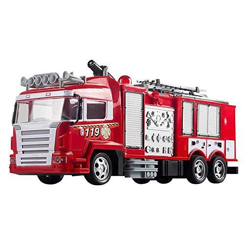 ZCYXQR RC Camión de Bomberos 2.4G Control Remoto Bomberos Camión de Rescate Fuego eléctrico Chorro de Agua Giratorio de 360 ° Escalera extraíble Ciudad (Regalo de cumpleaños Festivo)