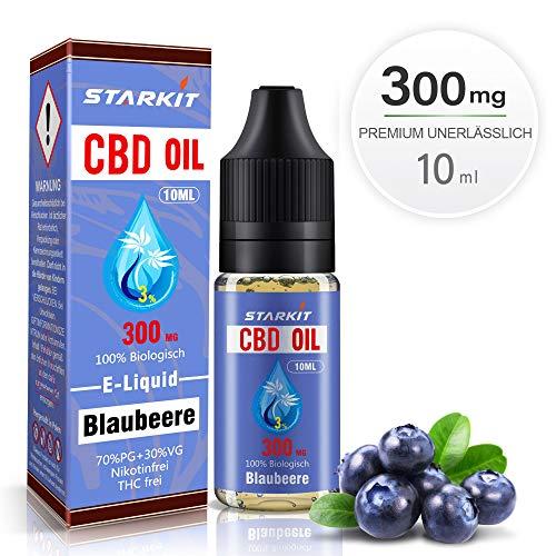STARKIT® CBD E Liquid 300mg, Vape Öl 10ml mit 3{33223d4a2cc0aa1a419af7f52a615637fa6ce1a8a453c3a45da798e348810103} Cannabidiol Hanf Öl für E Zigarette Starter Set SMOK E Shisha, PG70/VG30 Eliquid, ohne Nikotin, ohne THC (Blaubeere Geschmack, 300mg)