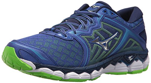 Mizuno Men's Wave Sky Running Shoes, surf The Web-Silver, 12 D US