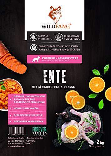 Wildfang® | Premium Trockenfutter für Hunde | natürliches Hundefutter, getreidefrei und ohne künstliche Zusatzstoffe … (Ente mit Süsskartoffel & Orange, 2 kg)