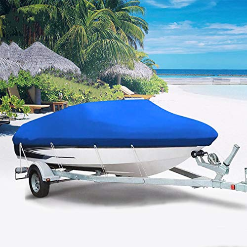 JTYX Funda para Barco Impermeable,Cubierta De Barco De Alta Resistencia Esquí Lancha Rápida 210D Impermeable Anti UV Parasol Trailerable V-Hull Protector De Yate Lona 11-24FT