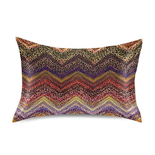 F17 Funda de almohada de satén tribal étnico azteca estampado animal patrón suave transpirable sofá funda de almohada funda de cojín para la piel del cabello, decoración del sueño, 20 x 40 pulgadas