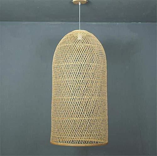 Oudan Kronleuchter Decke Pendelleuchte Schatten Hängen Lampe Gitter Wicker Rattan Handgemachtes Geschenk Chinesischen Stil Retro Landhausstil Beleuchtung, 45 * 110 (Farbe: -Doppel)