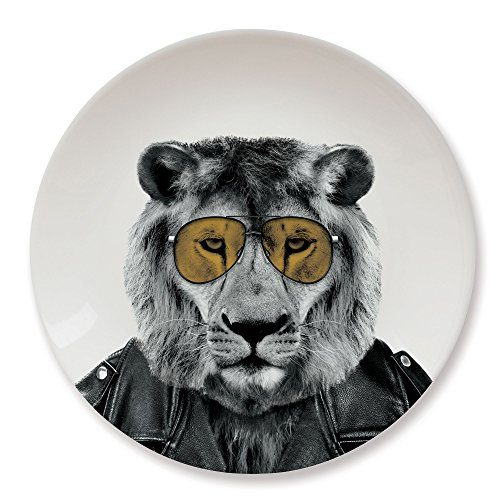 MUSTARD - Wild Dining Lion Dinner Plate I Keramik Teller I 100% Keramik I Runder Essteller I besonders I lustiger Speiseteller I Teller mit Tierprint I Geschenkidee für Studenten - Larry Löwe