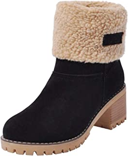 Women Short Snow Ankle Boots Suede Chunky Mid Heel Winter Warm Short Boots