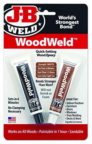 J-B Weld 8251 WoodWeld Quick Setting Wood Epoxy Adhesive - 1.52 oz.