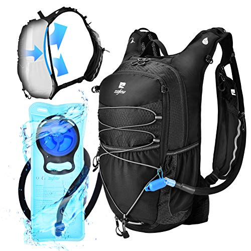 ZOFOW Hydration Backpack Pack 70oz 2 Liter TPU BPA Free Hydration Water Bladder Tactical Water Vest Lightweight Bike Bag Outdoor Gear Kit for Hiking Cycling Running Camping Hunting for Women Men Black