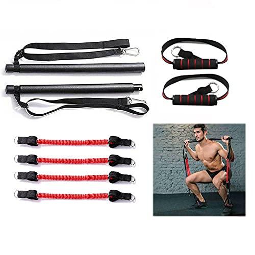 Barra de pilates con 4 bandas de resistencia ajustables, multifuncional, desmontable, fitness en casa, pilates, barra de resistencia para entrenamiento de cuerpo completo, yoga, fitness