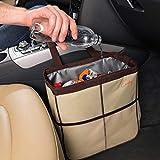 Creathing Lab Car Trash Bag Hanging | Waterproof Auto Garbage Can (Large, Beige)