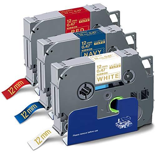 UniPlus 3X Compatibile Nastro in Tessuto Sostituzione per Brother Tze 12mm 0.47' TZe-R234 TZe-RN34 TZe-RW34 per P-Touch H110 D210 H200 H105 P750W 1280 1230PC, 12mm x 4m, Oro su Bianco/Marino/Rosso