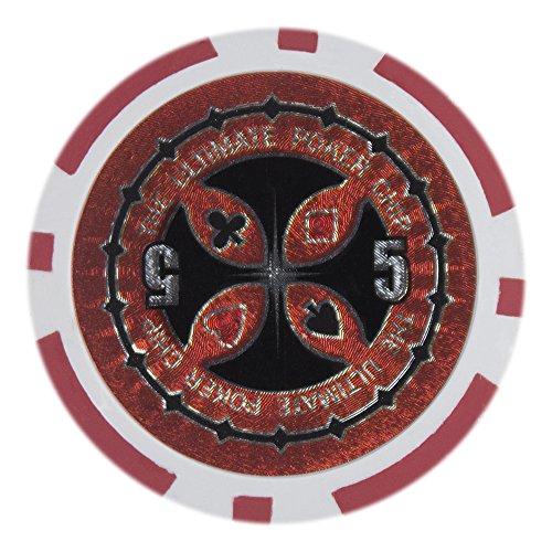 Brybelly The Ultimate Poker Chip Holo Intarsio Pesante 14 Grammi di Argilla composita – Confezione da 50, 5.00 Rosso