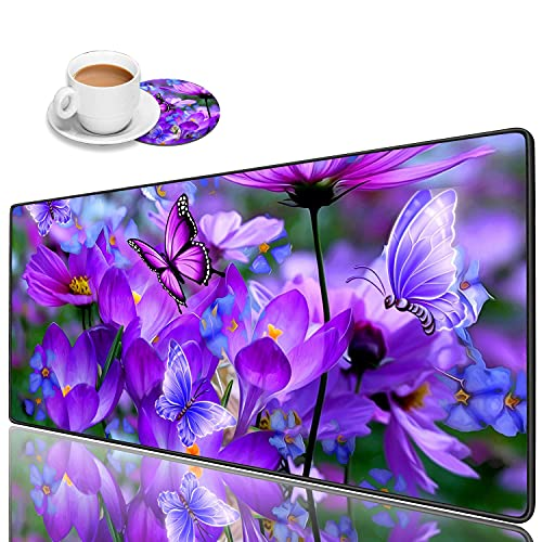 Luasao Desk Pad Mat Gaming Mouse Pads with Coasters, Stitched Edges Design Mouse Pad XXL Large Mouse Pad for Laptop Computers Purple Flowers and Butterflies Desk Writing Mat for Office & Home