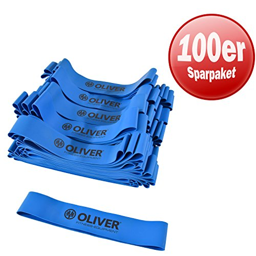 Oliver Rubber Band 100-delige set weerstandsband, gymnastiekband, trainingsband, oefenband, fitnessband, gymnastiekbanden, trainingsbanden, loopbanden, mini banden, oefenbanden 5 weerstanden