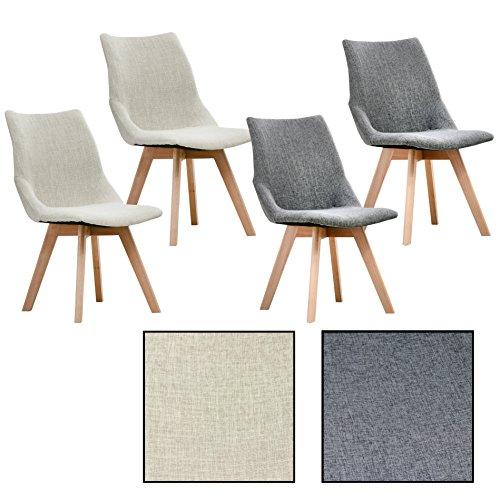 ESTEXO 2/4/6/8x Retro - Esszimmerstuhl Ubbo, Esszimmerstühle, Stuhlgruppe, Stühle, Stuhl, Küchenstuhl (Grau, 4)