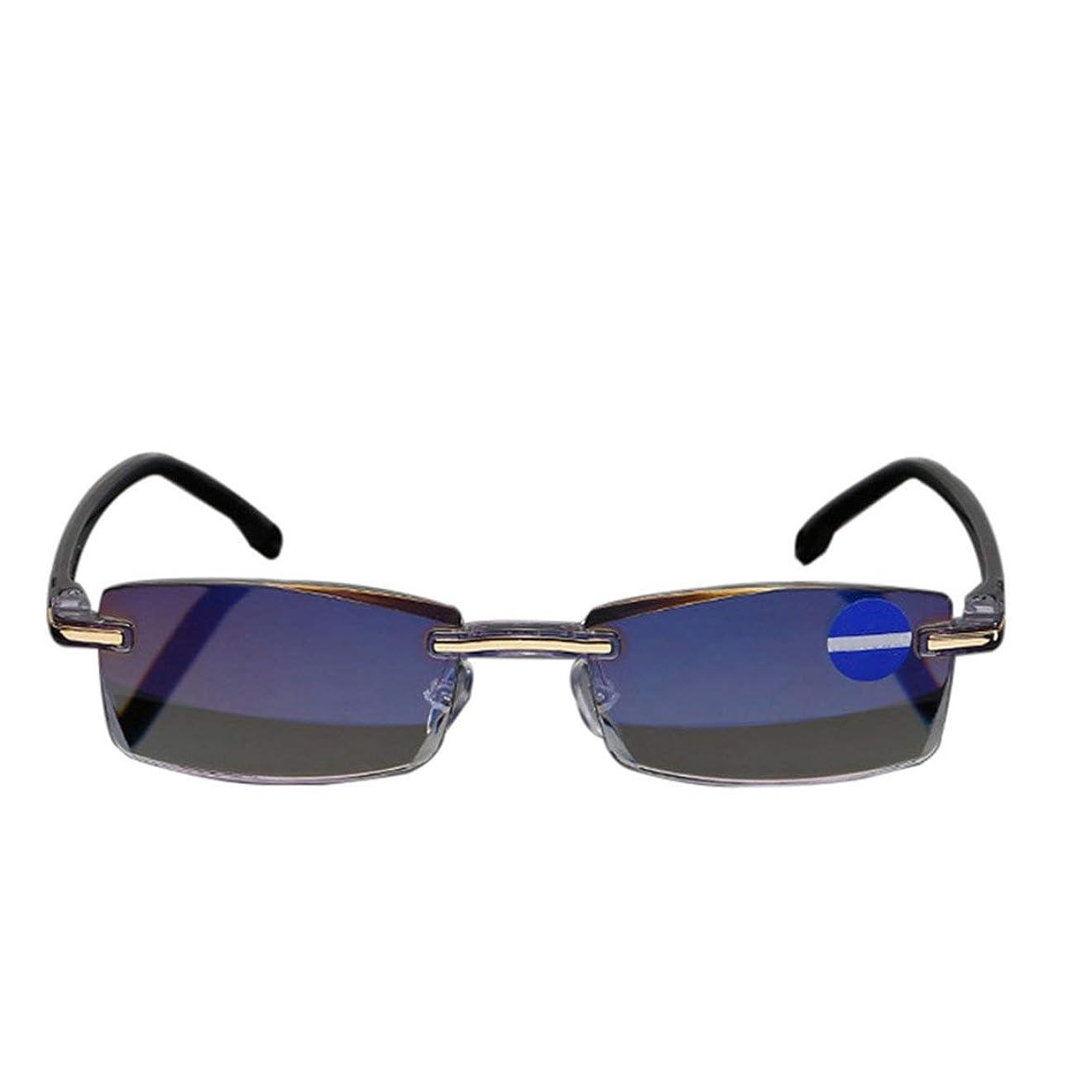 コック委任する絡み合いIntercoreyリムレスダイヤモンドカット老眼鏡アンチブルーライトおよびブルーフィルム統合された女性男性+1 - + 4全学