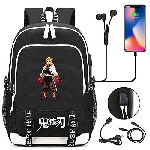 EDMKO Mochila para Niños Demon Slayer Mochila Escolar Impermeable Multifuncional Bolsa para Laptop Bolsa de Viaje para La Escuela Secundaria Puerto De Carga USB Externo,C