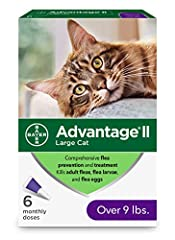 6-month supply of Advantage II topical large cat flea prevention Easy-to-apply and pre-measured flea treatment application tubes, fragrance-free and waterproof after 24 hours Advantage II large cat flea prevention kills fleas through contact, meaning...