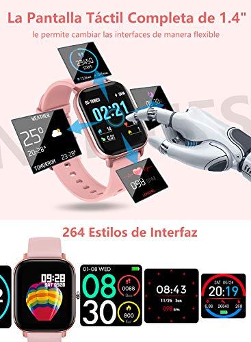 """NAIXUES Smartwatch, Reloj Inteligente Impermeable IP67 Reloj Deportivo 1.4"""" Pantalla Táctil Completa con Pulsómetro, Monitor de Sueño, Podómetro, Notificaciones para Mujer Hombre (Negro) 3"""