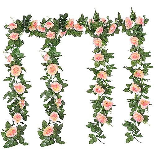 4 Pezzi Ghirlanda di Rosa Artificiali Fiori Appesi Ghirlanda Fiori Piante Artificiali Rampicante Fiori di Seta Vite Finta Appesa Rattan Ghirlanda Simulazione Pianta per Matrimonio Giardino (Champagne)