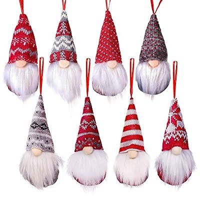 Supzone Christmas Gnomes Set of 8 Tree Hanging Ornaments?Swedish Handmade Plush Gnomes Santa Elf Hanging Decor Xmas Decor Holiday Home Decorations