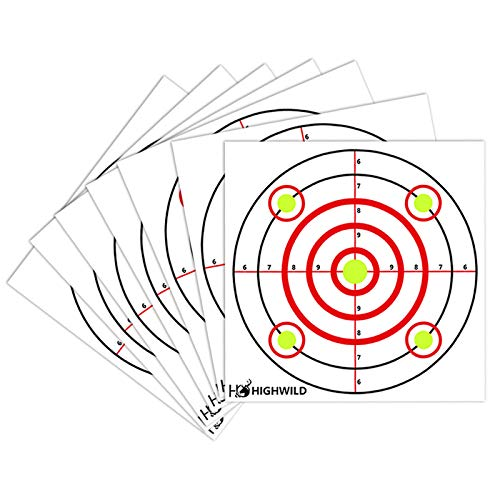 """Highwild Paper Targets - 50 Pack - 10"""" x 10"""" - Multi Color - Bullseye Shooting Fits Bullet Traps Metal Box BB Catcher Target Holder Pellet Trap for Air Rifle/Airsoft Pistol"""