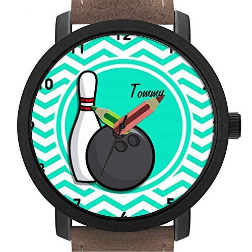 Geschenk für Erwachsene | Kinder | Geburtstag | Stilvolle niedliche Armbanduhr mit Bleistift Form Pointer Ornament Geschenk 065.Bowling; Aqua Green Chevron