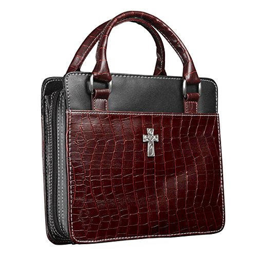 Classic Croc Purse-Style Bible / Book Cover w/Cross (Large, Burgundy)
