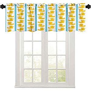 Short Straight Window Valance, Yellow Duckies with Blue Stripes and Small Circles Baby Nursery Play Toys Pattern, 36″ W x 18″ L Curtain Valance Window Treatment for Living Room, Yellow and Blue