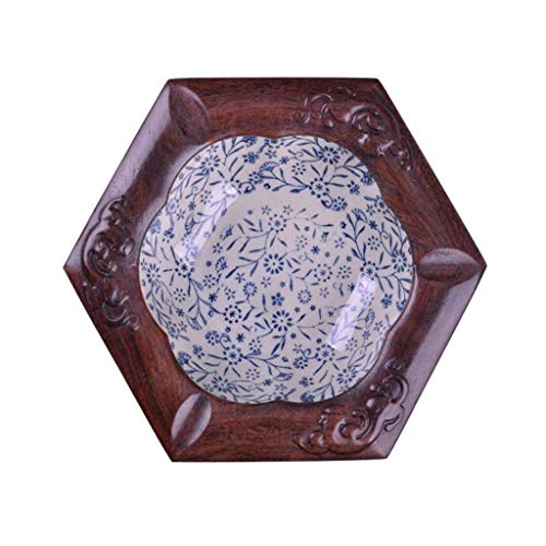 Outdoor Ashtray,Ashtray Gift Fashion Ashtray Creative High End Rosewood Carving Craft Solid Wood Ashtray Suitable For Gifts (Color: Hexagon)