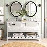 Charlotte 60-inch Double Bathroom Vanity (Quartz/White): Includes White Cabinet with Stunning Quartz Countertop and White Ceramic Farmhouse Apron Sinks